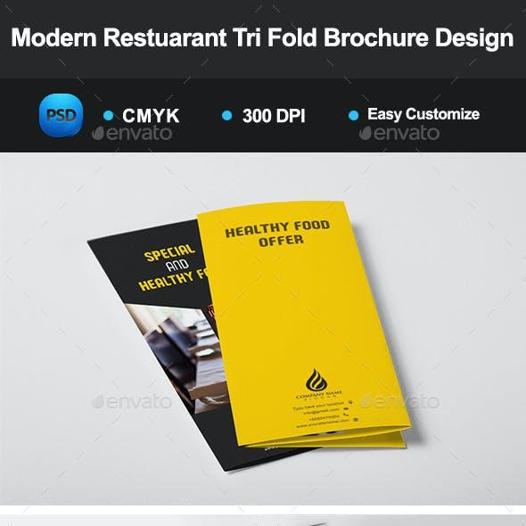 Modern Restuarant Tri Fold Brochure Design