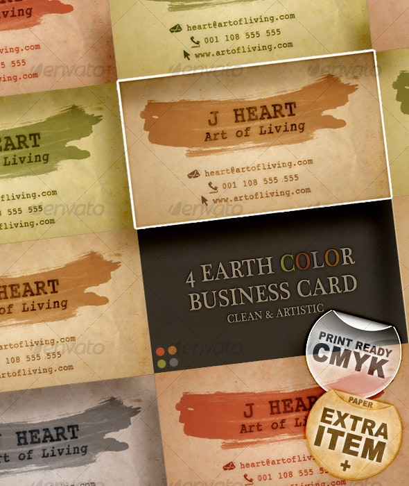 4 Earth Color Business Card – Clean & Artistic - Grunge Business Cards