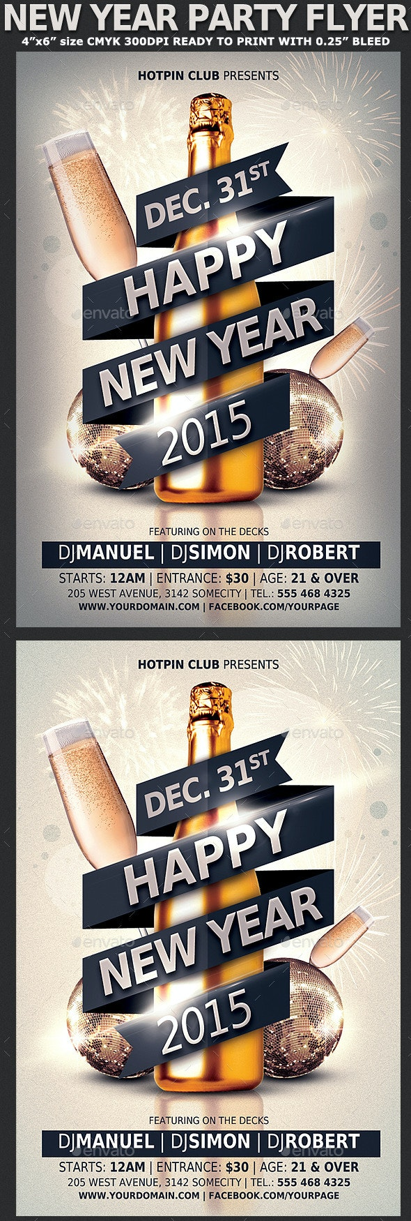 New Years Eve Party Flyer Template V3 - Clubs & Parties Events