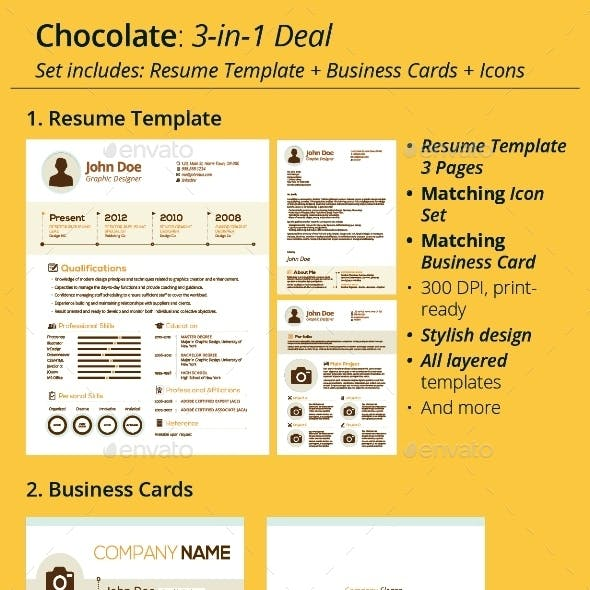 Chocalate: Resume Template + Icons + Business Card, 3-in-1 Deal