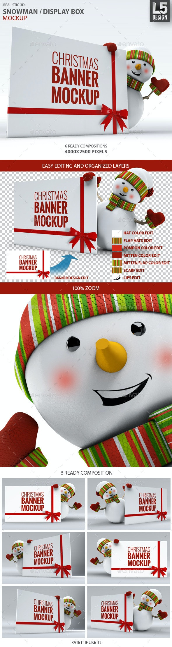 Snowman / Display Box Mock-up - Miscellaneous Product Mock-Ups