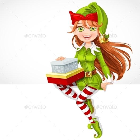 Girl Santa Elf with Gifts  - Christmas Seasons/Holidays