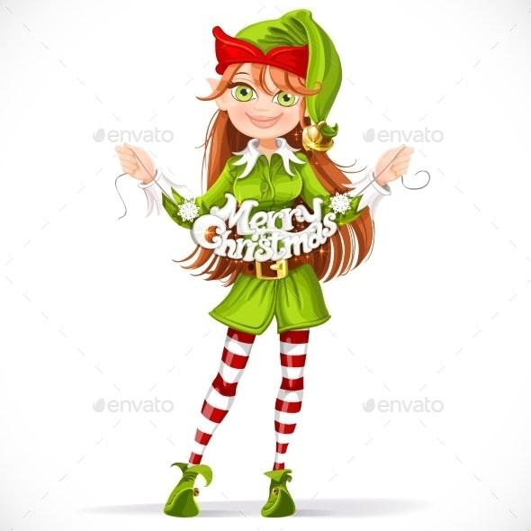 Girl Elf with the Merry Christmas Garland - Christmas Seasons/Holidays