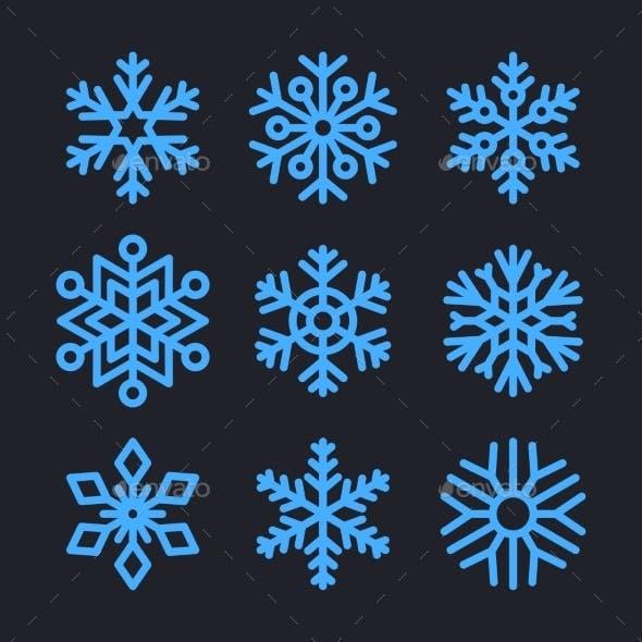 Snowflakes Set for Christmas Winter Design