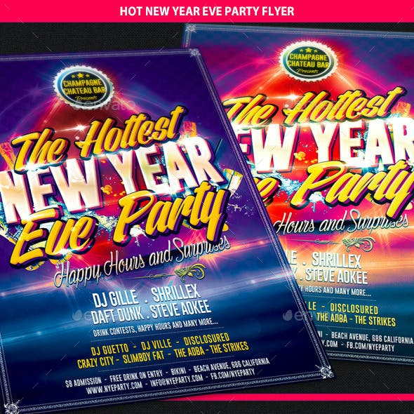 Hot New Year Eve Party Flyer