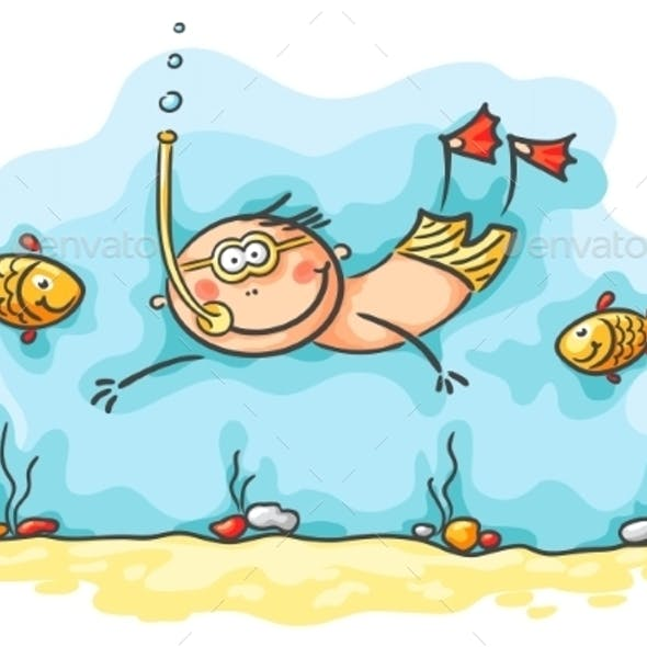 Happy Diver Swimming Underwater with Fishes