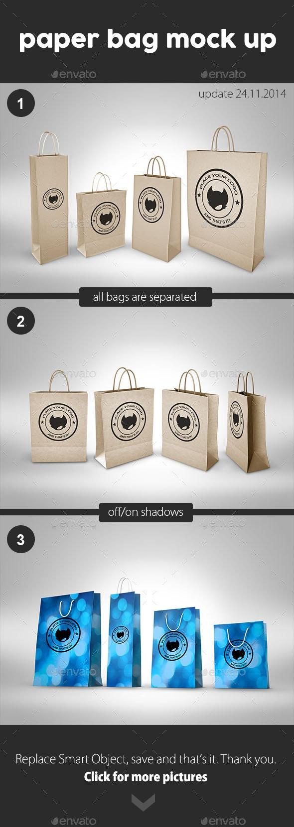 Paper Bag Mock Up - Packaging Product Mock-Ups