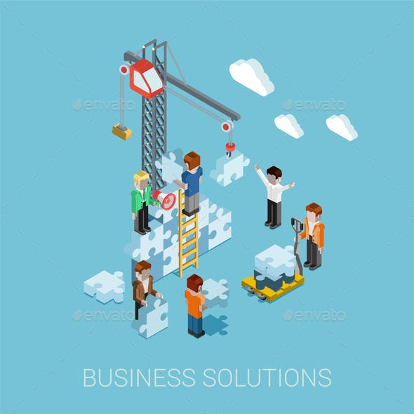 Flat 3D Isometric Business Solutions