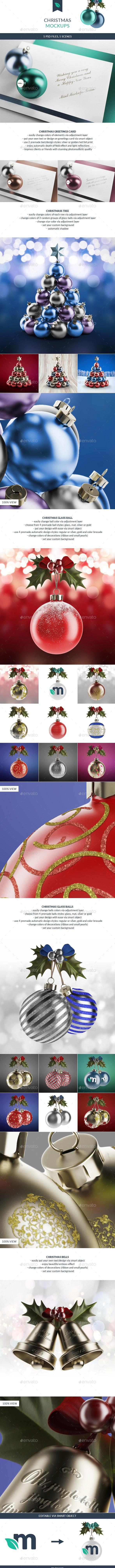 Christmas Ball and Greetings Mockups - Print Product Mock-Ups