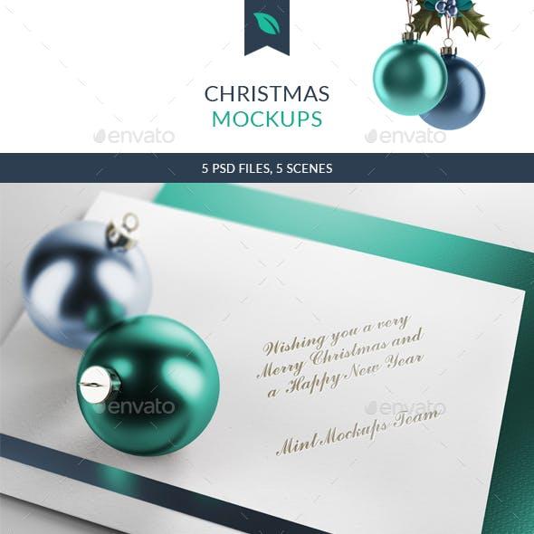 Christmas Ball and Greetings Mockups