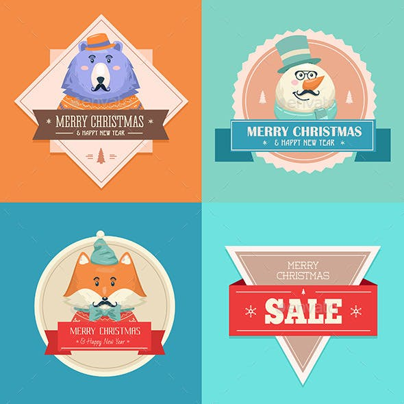Christmas Hipster Animals. Sale Card.
