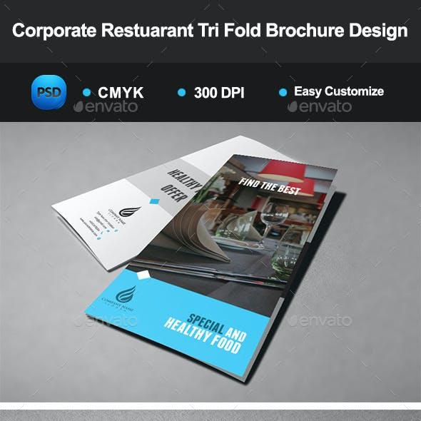 Corporate Restuarant Tri Fold Brochure Design