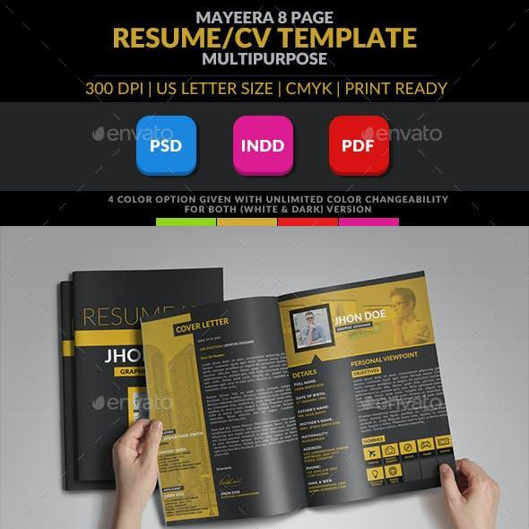Mayeera: A Multipurpose InDesign Resume/CV Template
