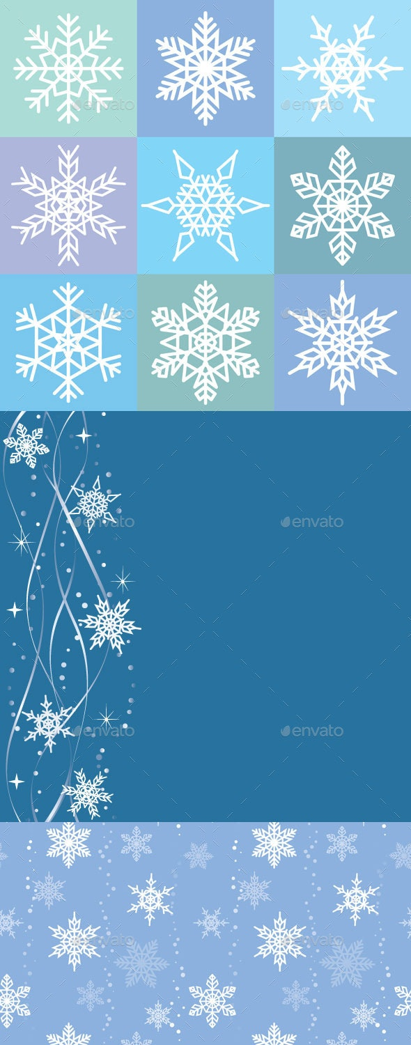 Set of Snowflakes and Backgrounds - Backgrounds Decorative