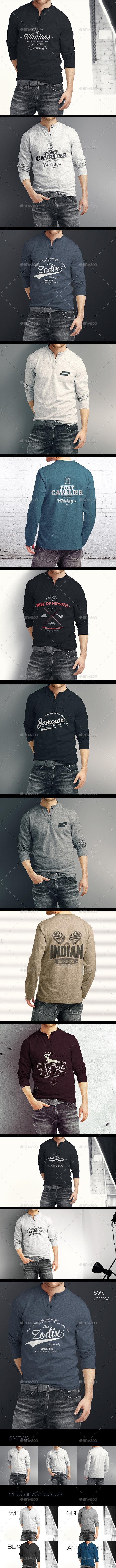 Man Longsleeve Shirt Mock-up - T-shirts Apparel
