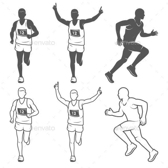 Set of Isolated Running Man.