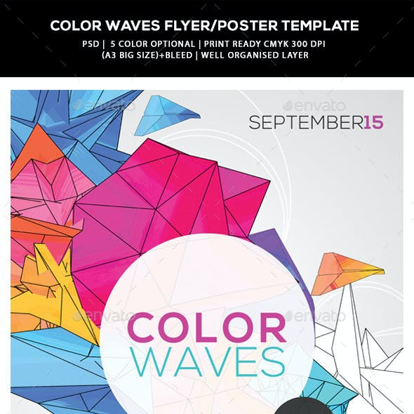 Futuristic Abstract Flyer/Poster - Color Waves