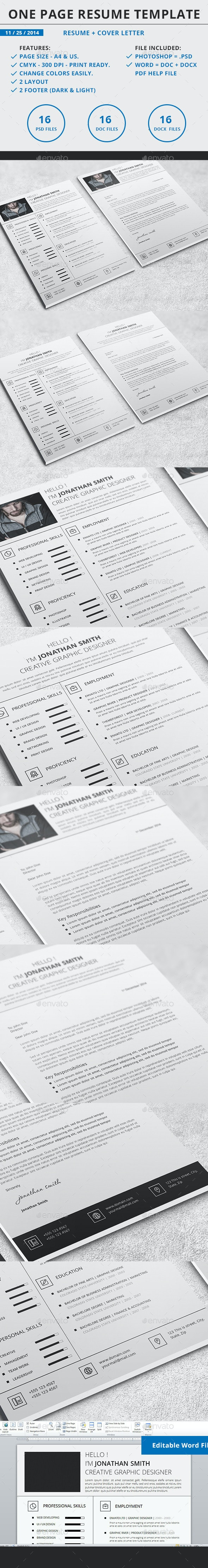 One Page Resume Template - Resumes Stationery