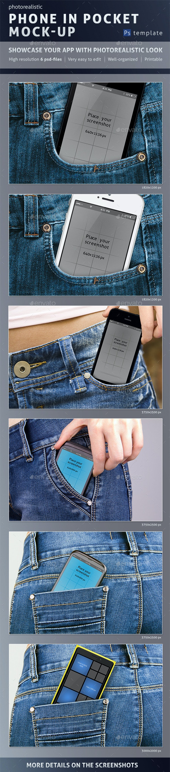 Photorealistic Phone in Pocket Mock-up - Mobile Displays