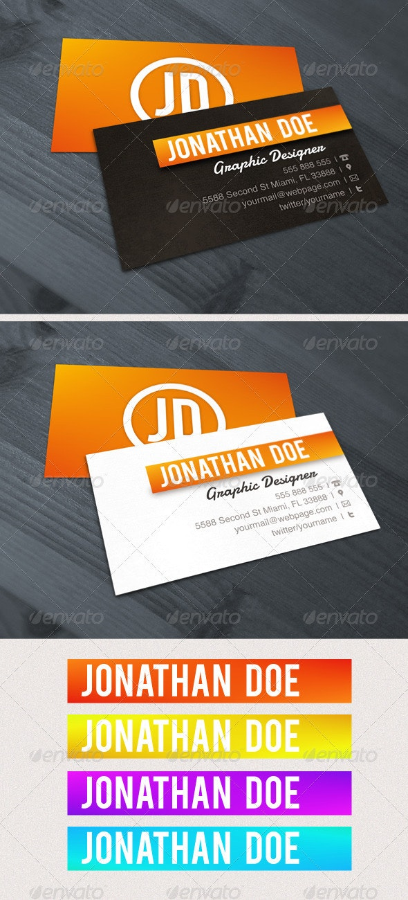 Contrast Orange Business Card - Corporate Business Cards