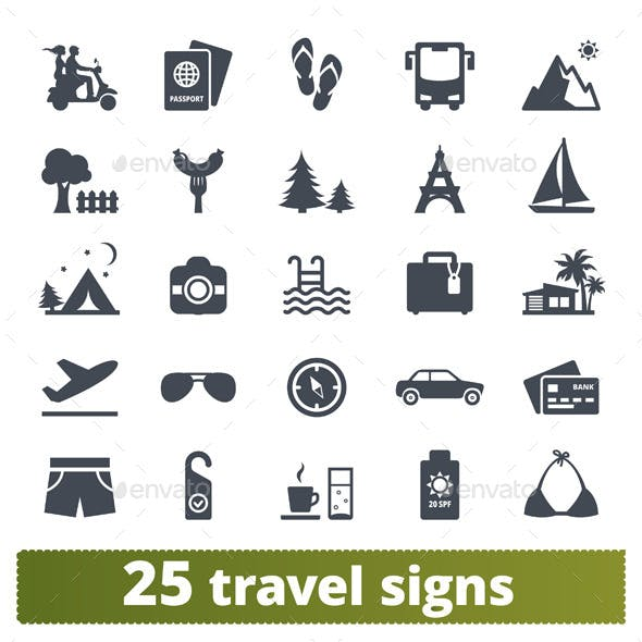 Travel icons: vector set.