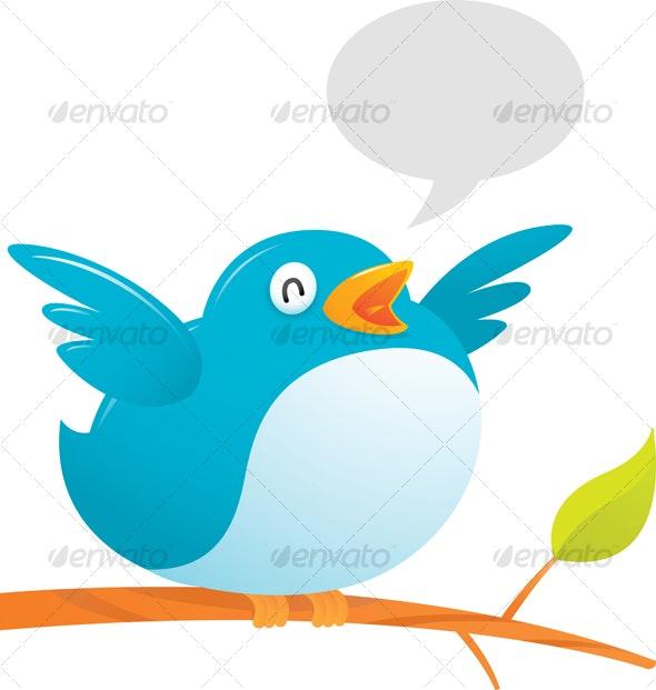 Fat Twitter Bird - Animals Illustrations