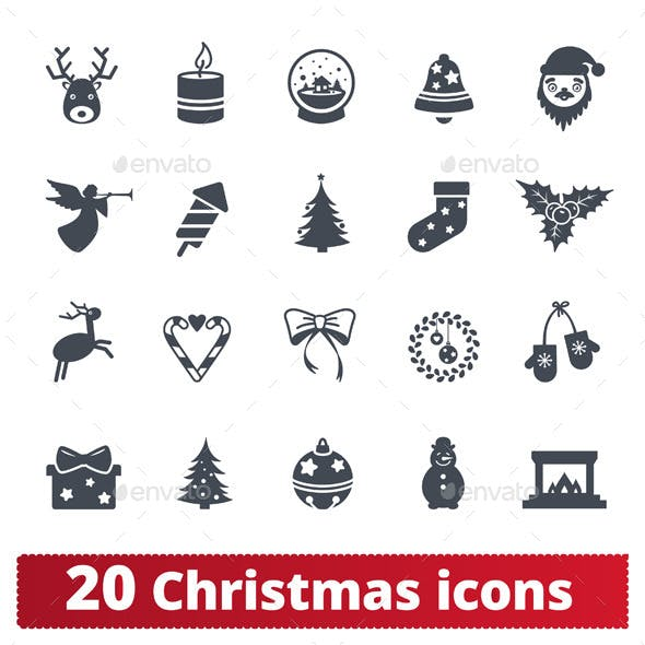 Christmas icons set.