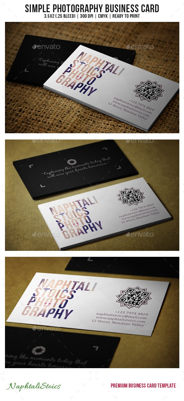Simple Photography Business Card - Creative Business Cards