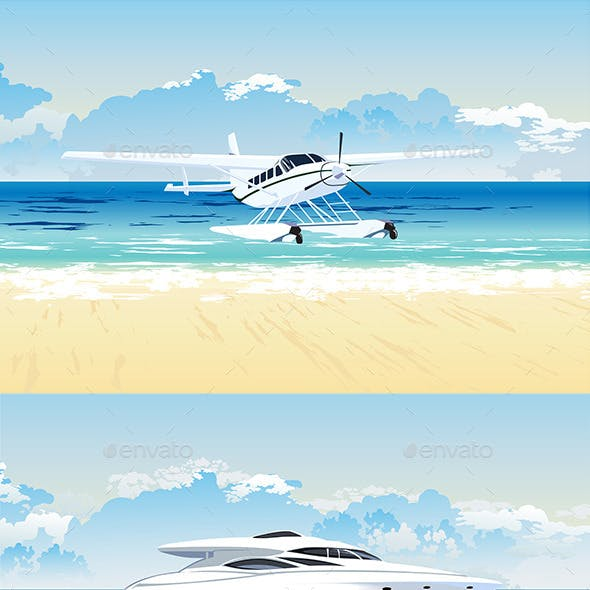 Seaplane and Speedboat on the Beach