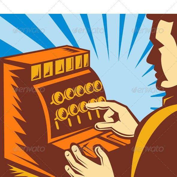 Cashier With Cash Register Till Retro Style