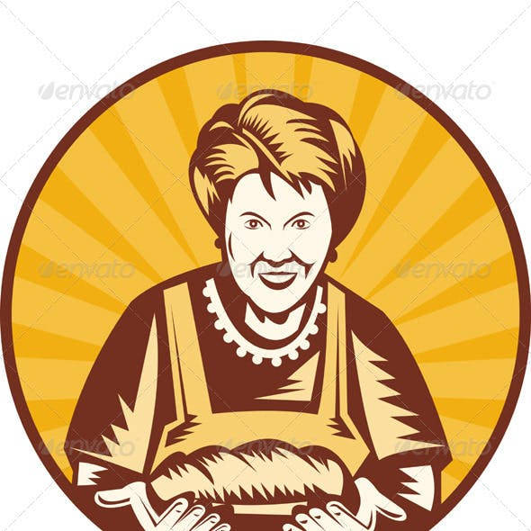 Grandma Baker With Bread Loaf Woodcut Style