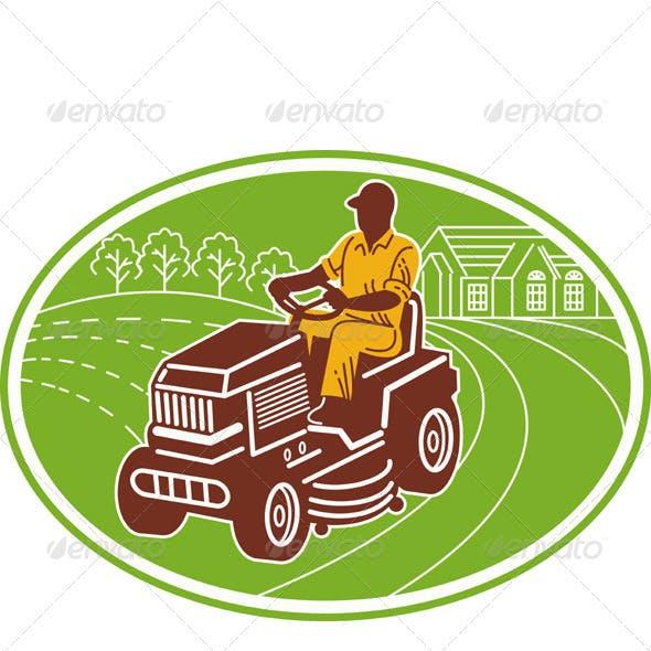 Gardener Landscaper Mowing Ride On Mower