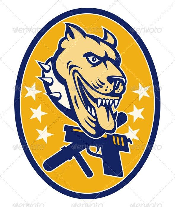 Guard Dog Pitbull With Baton And Hand Gun - Animals Characters