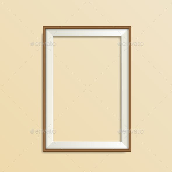 Blank Simple Wooden Modern Frame Isolated on Beige