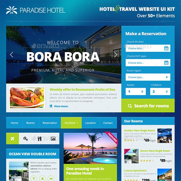 Hotel/Travel Booking Website UI Kit - PART 1