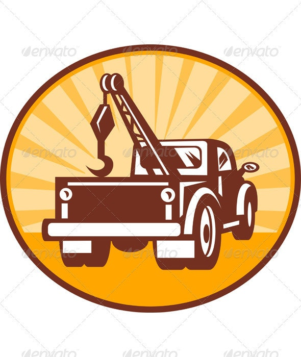 Tow Wrecker PickupTruck Rear View - Industries Business