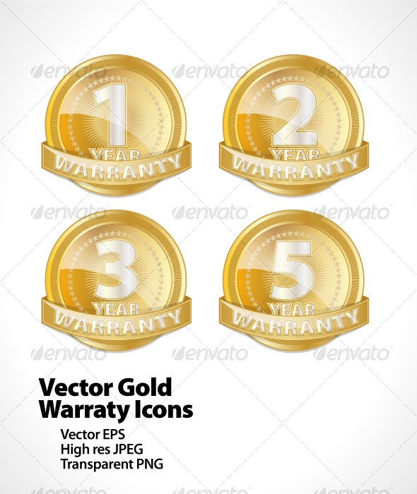 Vector Gold Warranty Icons - Web Elements