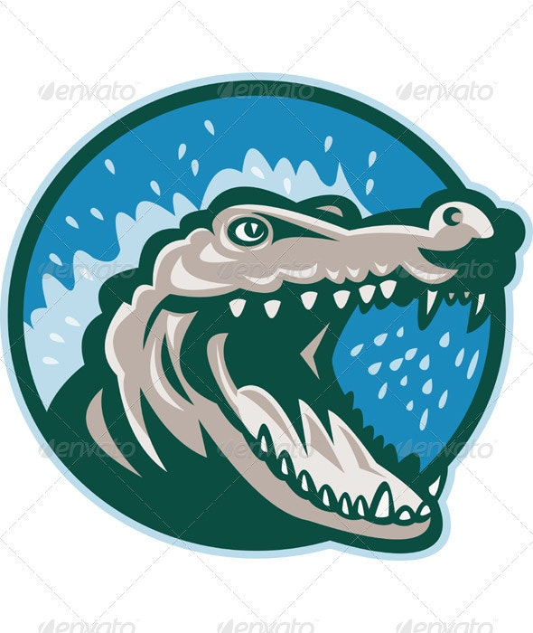 Snapping Crocodile Head Mascot - Animals Characters