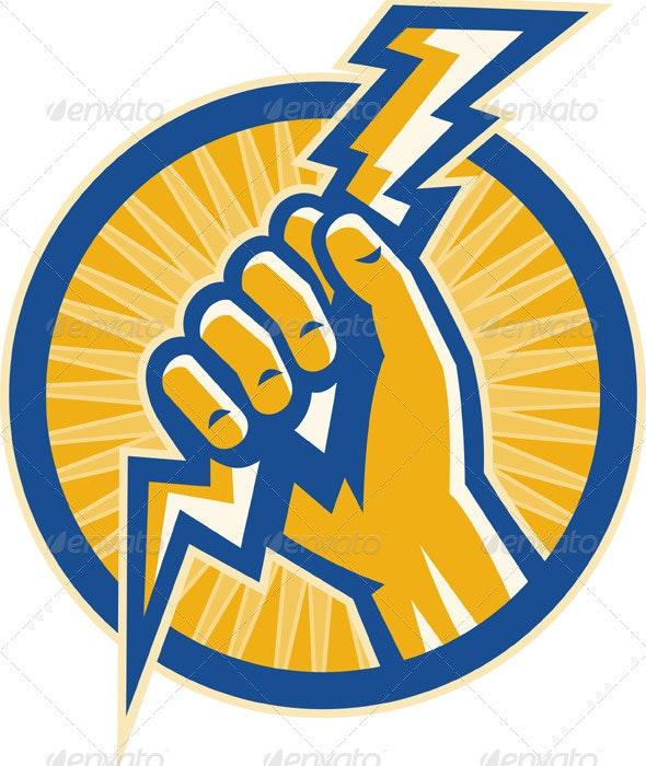 Hand Holding Lightning Bolt - Industries Business