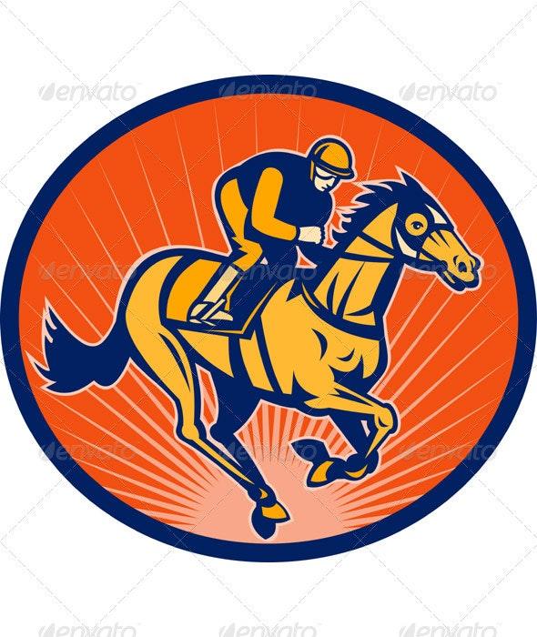 Jockey And Horse Racing Retro Style - Sports/Activity Conceptual