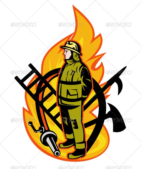 Fireman Firefighter With Fire Hose And Spear Hook - People Characters