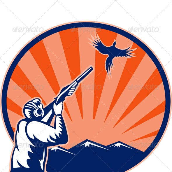 Hunter With Shotgun Rifle Aiming At Pheasant Bird