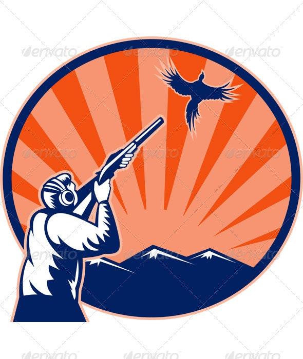 Hunter With Shotgun Rifle Aiming At Pheasant Bird - Sports/Activity Conceptual