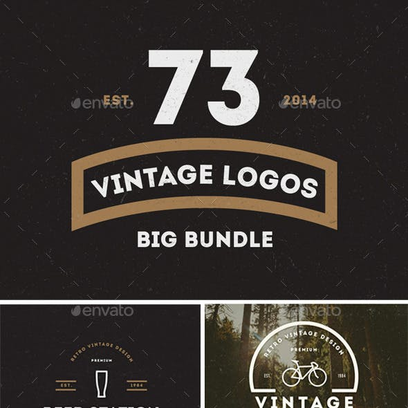 73 Vintage Labels & Badges Logos Bundle