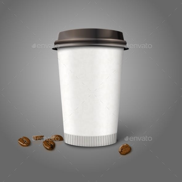Blank Realistic Paper Coffee Cup with Beans