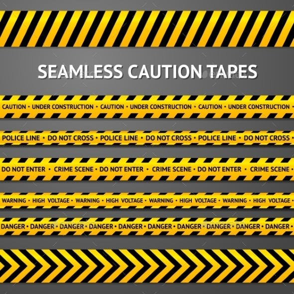 Set of Black and Yellow Seamless Caution Tapes