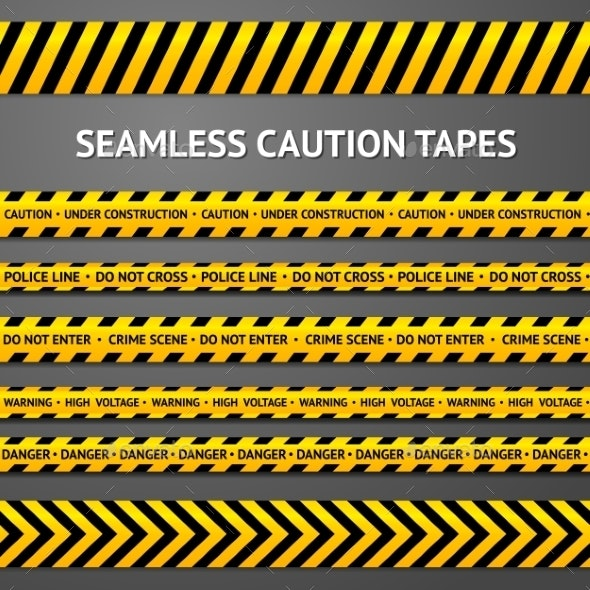 Set of Black and Yellow Seamless Caution Tapes - Man-made Objects Objects