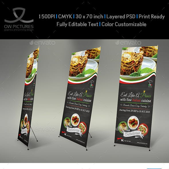 Italian Restaurant Signage Roll Up Template