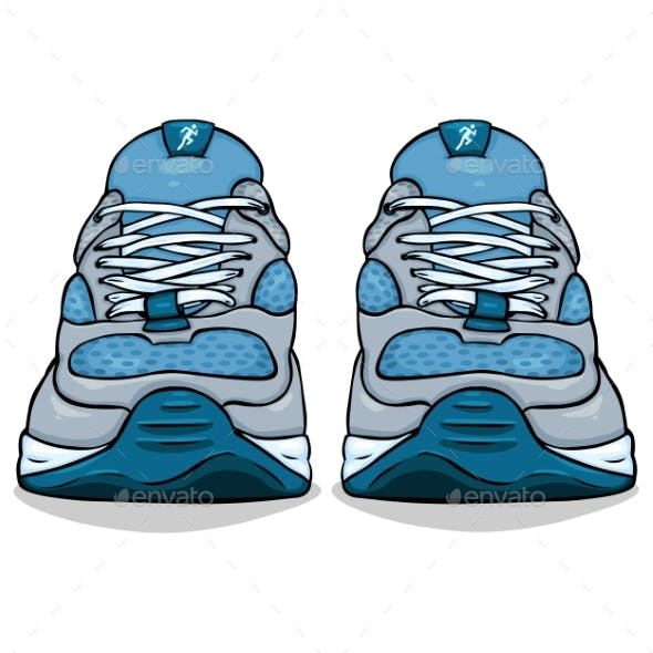 Cartoon Single Blue Running Shoes