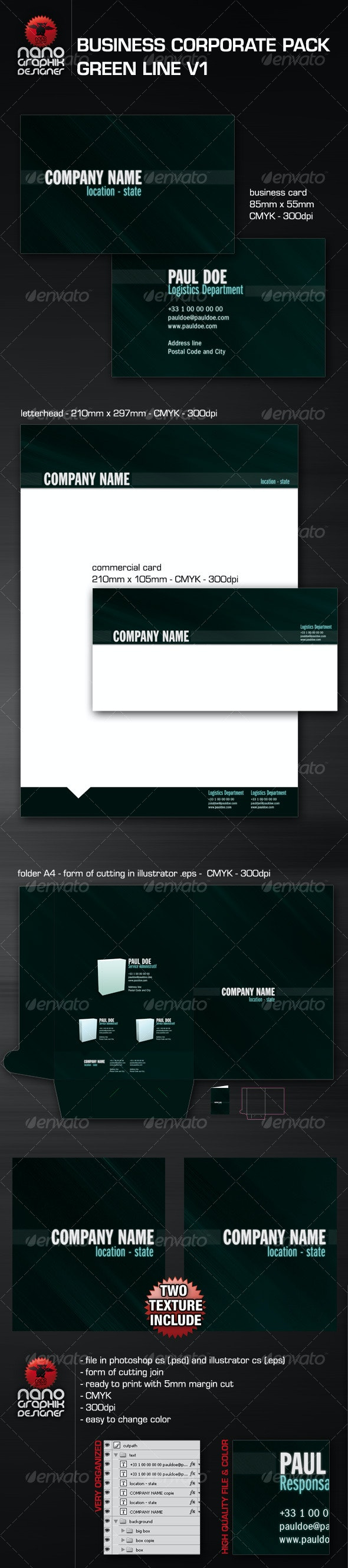 business corporate pack green line - Business Cards Print Templates